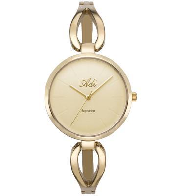 שעון יד לאישה עשוי פלדת אל חלד, זכוכית ספיר ועמיד במים מבית ADI דגם 13-0120-333
