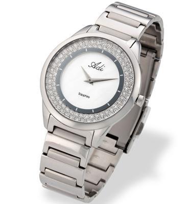 שעון יד לאישה עשוי פלדת אל חלד, זכוכית ספיר ועמיד במים מבית ADI דגם 13-0660-183
