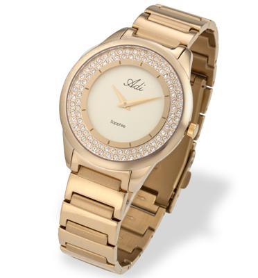 שעון יד לאישה עשוי פלדת אל חלד, זכוכית ספיר ועמיד במים מבית ADI דגם 13-0660-333