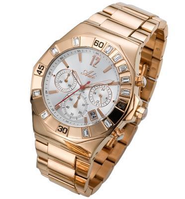 שעון כרונוגרף לגבר עשוי פלדת אל חלד מצופה זהב אדום ועמיד במים עד 100M מבית ADI דגם 19-3768-383
