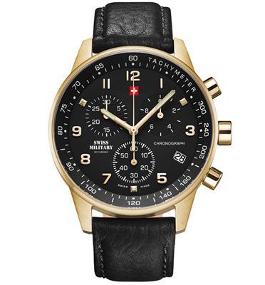 שעון יד כרונוגרף לגבר SWISS MILITARY  עשוי פלדת אל חלד תוצרת שוויץ דגם SM3401210