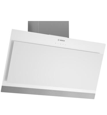 """קולט אדים צמוד קיר מסוג ארובה בעיצוב ייחודי מזכוכית לבנה 90 ס""""מ תוצרת BOSCH דגם DWK09G620"""