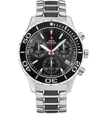 שעון יד כרונוגרף לגבר עשוי פלדת אל חלד תוצרת SWISS MILITARY שוויץ דגם SM3404805