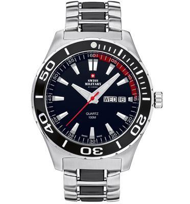 שעון יד כרונוגרף לגבר עשוי פלדת אל חלד תוצרת שוויץ תוצרת SWISS MILITARY דגם SM3401701
