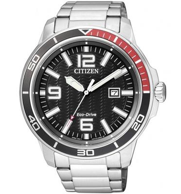 """שעון יד סולארי לגבר נטען ע""""י האור ללא צורך בסוללה עמיד במים מבית CITIZEN דגם CI-AW152051E"""