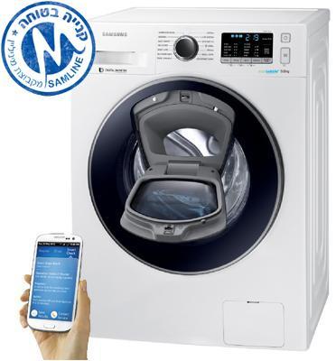 """מכונת כביסה פתח חזית 9 ק""""ג 1,400 סל""""ד תוצרת Samsung דגם WW90K5410UW"""