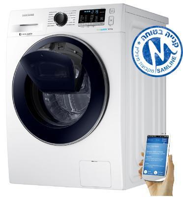 """מכונת כביסה פתח חזית 8 ק""""ג 1,400 סל""""ד AddWash+Eco Bubble תוצרת SAMSUNG דגם WW80K5410UW"""