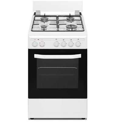 """תנור אפייה משולב גז 4 מבערים ברוחב 50 ס""""מ ייחודי מכסה זכוכית  לבן מבית NEON דגם NE-505W"""