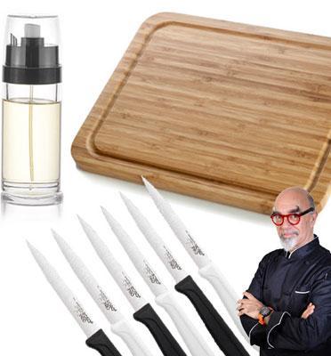 סט מושלם לסלט של השף אהרוני הכולל קרש חיתוך, 6 סכיני ירקות ומרסס שמן/חומץ מבית ROSOPRO דגם b111