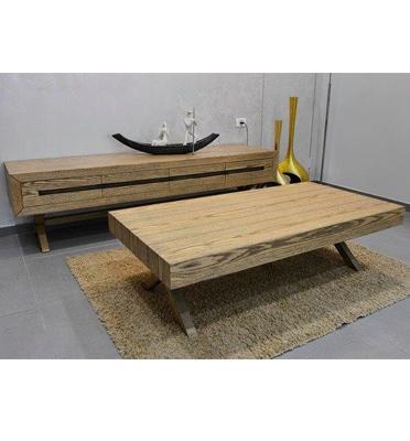 מערכת סלונית הכוללת מזנון ושולחן מעוצבת בגימור אלון מבוקע בהשחרה מבית Vitorio Divani דגם פטרה