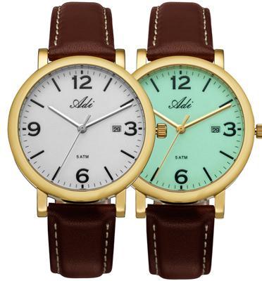 שעון יד אנלוגי לגבר עם תאורה מפלדת אל חלד ועמיד במים עד 50M שנה אחריות מבית ADI דגם 21-7361-341