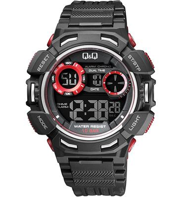 שעון יד דיגיטלי לגבר עם כל הפונקציות הדיגטליות ותאורה עמיד במים עד מבית Q&Q ד 100M QS-M148J001Y