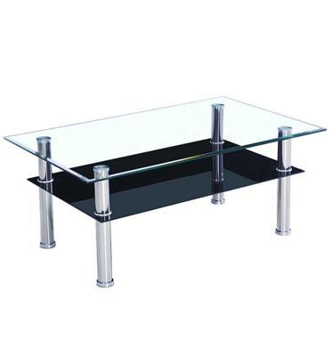 שולחן סלון עשוי זכוכית וכולל מדף תחתון לעיתונים, ספרים, ציוד נלווה וכו' מבית Homax דגם ורונה