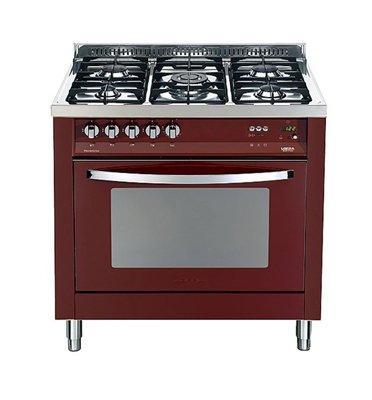 """תנור משולב כיריים בעיצוב תעשייתי ואלגנטי 90 ס""""מ צבע אדום תוצרת LOFRA דגם MSRG96MFT COOL"""