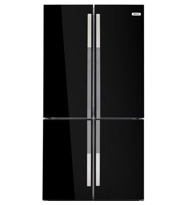 מקרר 4 דלתות נפח כללי 552 ליטר ציפוי זכוכית שחורה תוצרת BEKO דגם GNE 104611 -9005 -מתצוגה