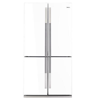 מקרר 4 דלתות נפח כללי 552 ליטר ציפוי זכוכית לבנה תוצרת BEKO דגם GNE 104611 -9003  -מתצוגה