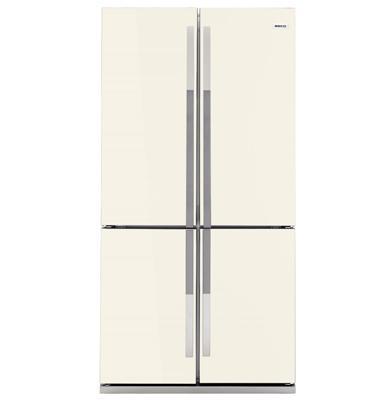 מקרר 4 דלתות נפח כללי 552 ליטר ציפוי זכוכית שמנת תוצרת BEKO דגם GNE 104611 -1013   -מתצוגה