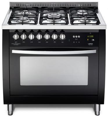 """תנור משולב כיריים ברוחב 90 ס""""מ צבע שחור תוצרת LOFRA CURVA  דגם CSNG96MFT COOL"""