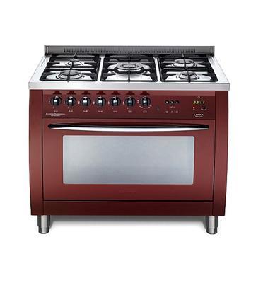 """תנור משולב כיריים ברוחב 90 ס""""מ צבע בורדו תוצרת LOFRA PROFESSIONAL דגם CSRG96MFT COOL"""