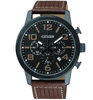 שעון יד כרונוגרף לגבר עשוי פלדת אל חלד מושחרת ועמיד במים מבית CITIZEN דגם CI-AN805506E