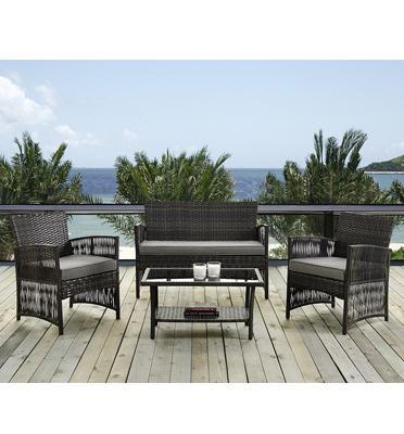 סט ריהוט גינה 4 חלקים כולל שולחן ראטן סינטטי משולב זכוכית מחוסמת מבית Homax דגם ג'מייקה