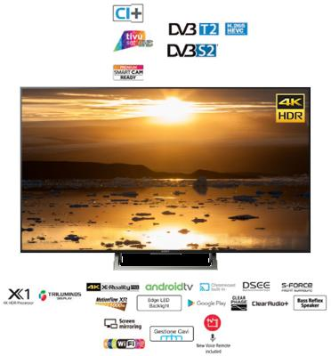 """טלוויזיה 65""""  Android TV 4K מסגרת כסופה תוצרת SONY. דגם KD-65XE8596"""