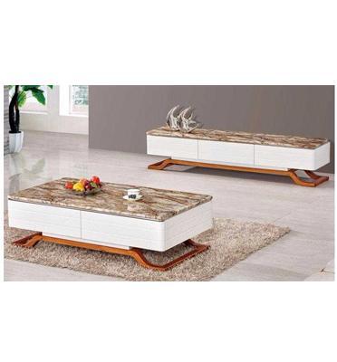 סט מזנון ושולחן סלוני בעל משטח עליון מאבן שיש אמיתי מבית SIRS דגם ADAM