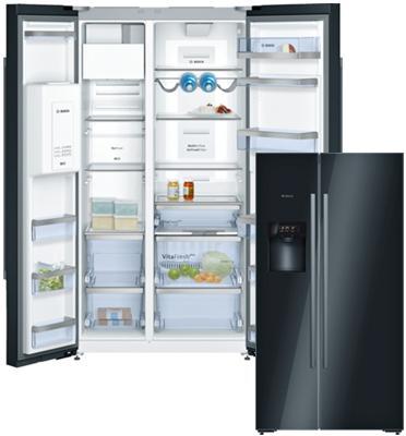 מקרר עם מקפיא 566 ליטר דלת ליד דלת NoFrost עם דיספנסר לקרח ומים שחור תוצרת BOSCH דגם KAD92SB30