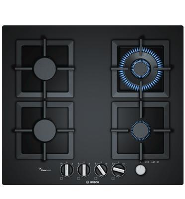 """כיריים גז 60 ס""""מ מסדרת FlameSelect זכוכית מחוסמת שחורה 4 מבערים תוצרת BOSCH דגם PPH6A6M20Y"""