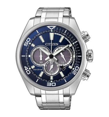 """שעון סולארי לגבר נטען ע""""י האור עשוי פלדת אל חלד ועמיד במים ל100M מבית CITIZEN דגם CI-CA433081L"""