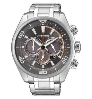 """שעון סולארי לגבר נטען ע""""י האור עשוי פלדת אל חלד ועמיד במים ל100M מבית CITIZEN דגם CI-CA433081H"""