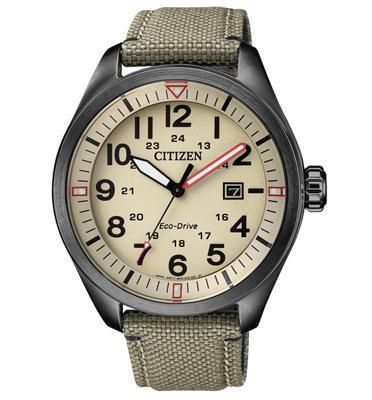 """שעון סולארי לגבר נטען ע""""י האור עשוי פלדת אל חלד ועמיד במים ל100M מבית CITIZEN דגם CI-AW500512X"""