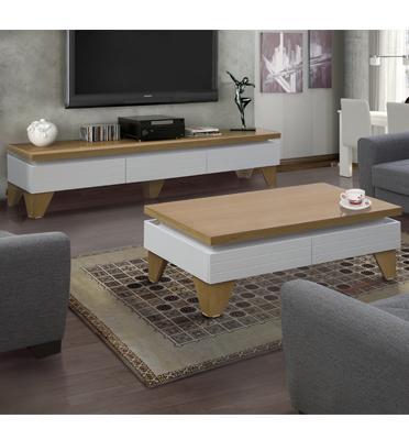 מערכת מזנון ושולחן לסלון בגימור אפוקסי לבן בשילוב עץ בעיצוב יוקרתי מבית LEONARDO דגם לגארדה