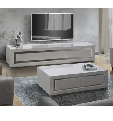 מערכת מזנון ושולחן לסלון בצבע לבן בגימור אפוקסי בעיצוב יוקרתי מאוד מבית LEONARDO דגם SHARONA