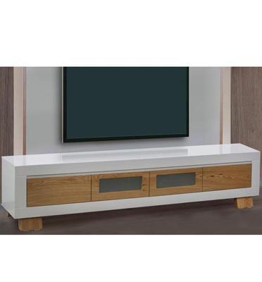 מזנון לסלון בצבע לבן בשילוב עץ בגימור אפוקסי יוקרתי לשידרוג הסלון מבית .LEONARDO דגם ברקת