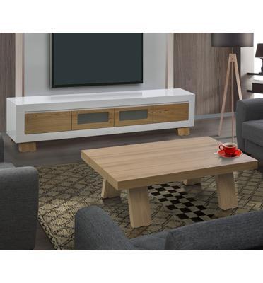 מערכת מזנון ושולחן לסלון בצבע לבן בשילוב עץ בגימור אפוקסי בעיצוב יוקרתי מבית LEONARDO דגם ברקת