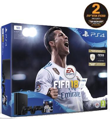 קונסולה פלייסטיישן 4 דגם חדש SLIM בנפח 1TB כולל 2 בקרים רוטטים וסטנד שולחני FIFA 2018