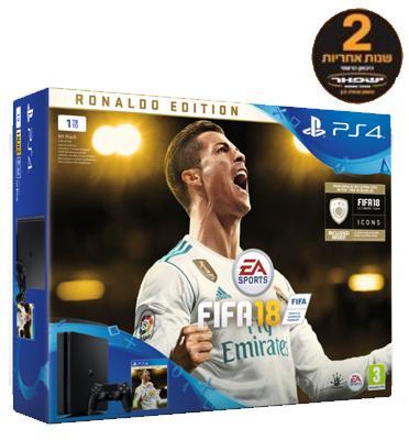 קונסולה פלייסטיישן 4 דגם חדש SLIM בנפח 1TB כולל בקר רוטט אחד וסטנד שולחני DELUX  FIFA 2018