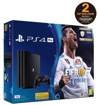 קונסולה פלייסטיישן פרו PRO בנפח 1TB כולל בקר אחד  FIFA 2018 בונוס תוכן בלעדי למשחק ICONS