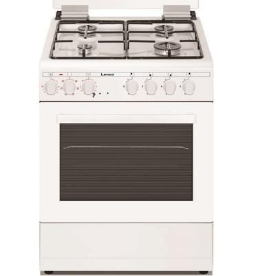 תנור אפיה משולב כיריים גז צבע לבן תוצרת Lenco דגם LFS-6045W