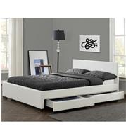 מיטה זוגית מעוצבת בריפוד דמוי עור עם 4 מגירות HOME DECOR דגם לין