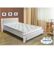 מיטת עץ מלא גושני בשילוב כרית מרופדת עם אבני קריסטל כולל מזרן מבית אולימפיה דגם נויה