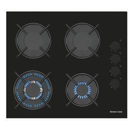 """כיריים גז 60 ס""""מ זכוכית שחורה עם להבת ווק טורבו תוצרת Green Line דגם GR6008GB"""