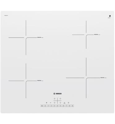 """כיריים אינדוקציה זכוכית לבנה 60 ס""""מ חד פאזי 4 אזורי בישול תוצרת בוש דגם PUE612FF1Y"""