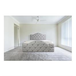 מיטה מרופדת בעלת ראש מעוגל מעוצב קפיטונג' עם כפתורי קריסטל,דגם 6005 / 6006
