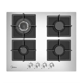 """כיריים גז ברוחב 60 ס""""מ 4 להבות בישול זכוכית מחוסמת תוצרת Midea דגם 60G40ME007-GFT SILVER"""