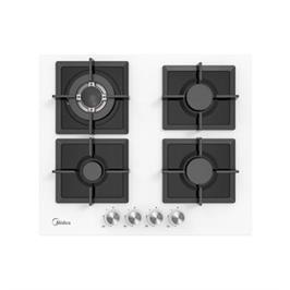 """כיריים גז ברוחב 60 ס""""מ 4 להבות בישול זכוכית מחוסמת תוצרת Midea דגם 60G40ME007-GFT WHITE"""