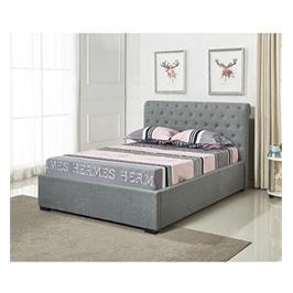 מיטה זוגית מעוצבת בריפוד בד עם ארגז מצעים מעץ HOME DECOR דגם קים