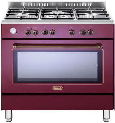"""תנור משולב כיריים מפואר 90 ס""""מ 8 תוכניות 5 להבות גז צבע אדום תוצרת DELONGHI דגם NDS951R"""