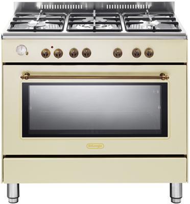 """תנור משולב כיריים מפואר 90 ס""""מ 8 תוכניות 5 להבות גז צבע וניל תוצרת DELONGHI דגם NDS951VN"""